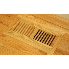 "Unfinished Red Oak Flush Mount with Frame 4""x8"" Vent"